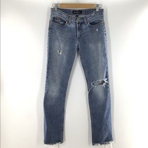 Earl Blue Distressed Cropped Jeans 27x28 GUC